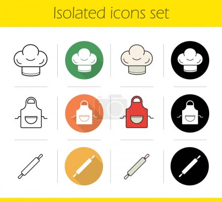 Kitchen accessories icons set