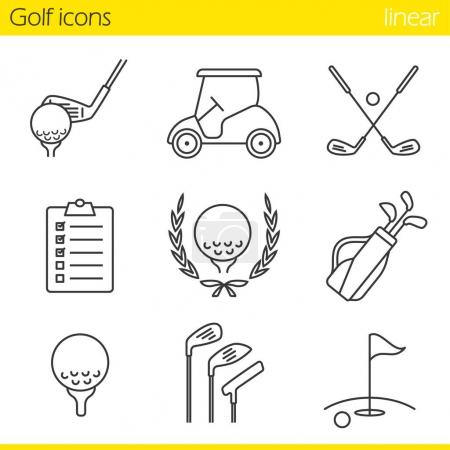 Golf equipment icons set