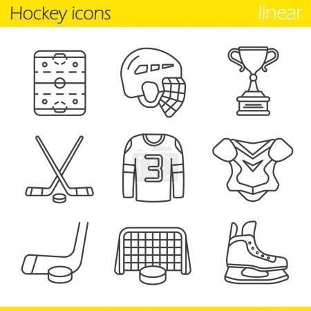 Hockey equipment icons set