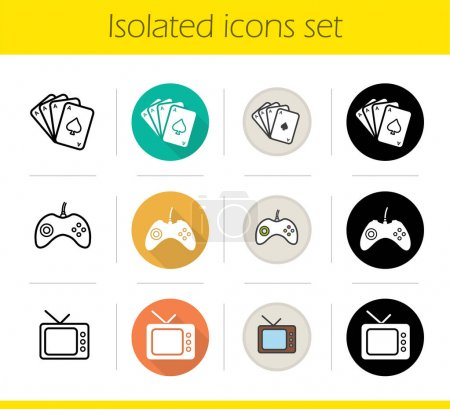 Leisure and entertainment activities icons set