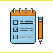 To do list with pencil color icon Notebook with tick mark Notepad Isolated vector illustration
