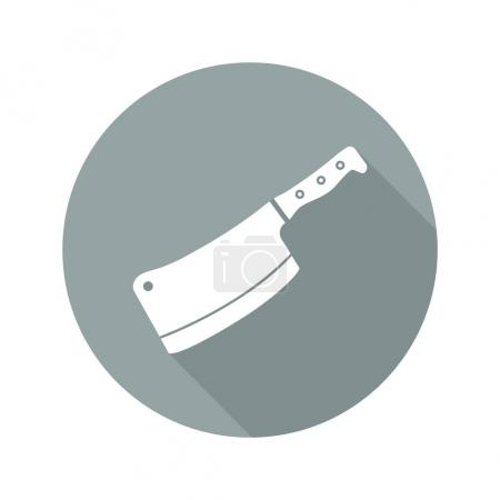 Butcher's knife flat design long shadow icon