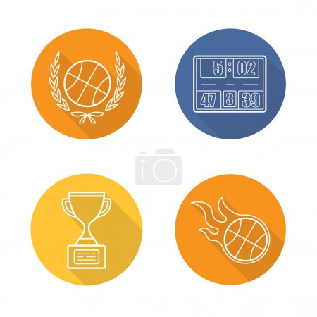 Basketball championship flat linear long shadow icons set