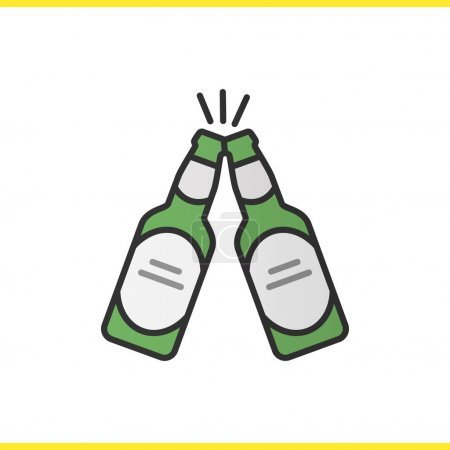 Toasting beer bottles color icon
