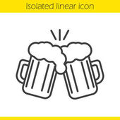 Toasting beer glasses linear icon