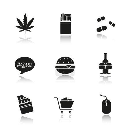 Addictions drop shadow black icons set