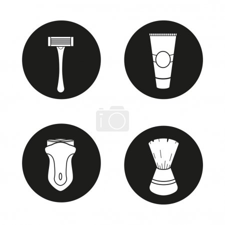 Shaving accessories icons set