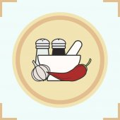 Spices color icon Salt and pepper shakers garlic chili mortar and pestle Isolated vector illustration