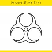 Biohazard danger linear icon Thin line illustration Bio hazard caution contour symbol Vector isolated outline drawing
