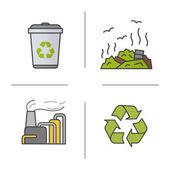 Waste management color icons set