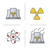 Atomic energy color icons set