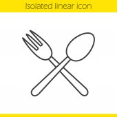 Eatery linear icon Thin line illustration Crossed fork and spoon contour symbol Vector isolated outline drawing
