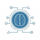 Neural networks icon Blue silhouette symbol Human brain in microchip pathways Artificial intelligence Negative space Vector isolated illustration