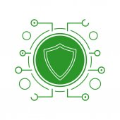 Cyber security icon Silhouette symbol Green shield in microchip pathways Negative space Vector isolated illustration