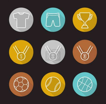 Sport games flat linear long shadow icons set