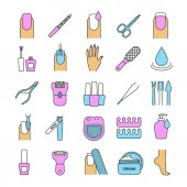 Manicure and pedicure color icons set