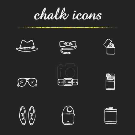Men's accessories chalk icons set