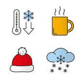 Winter season color icons set Temperature falling hot steaming tea or coffee mug Santa Claus red hat winter snowfall Isolated vector illustrations