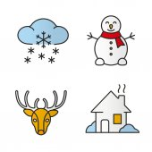 Winter season color icons set Snowman reindeer house winter snowfall Isolated vector illustrations