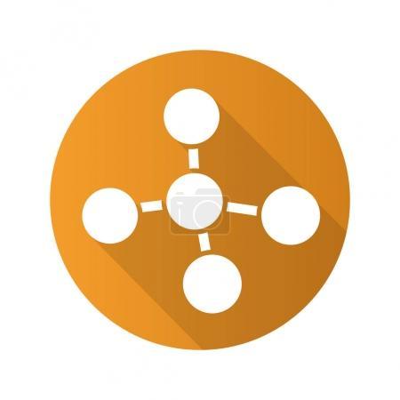 Molecule flat design long  icon