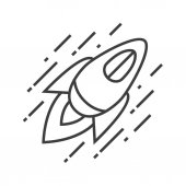 Flying spaceship linear icon Thin line illustration Space rocket contour symbol Vector isolated outline drawing
