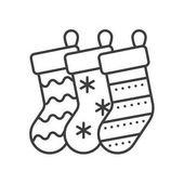 Christmas gift socks linear icon
