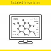 Molecular structure Laboratory computer linear icon Thin line illustration Scientific project contour symbol Vector isolated outline drawing