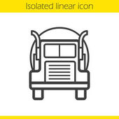 Oil tanker truck linear icon Thin line illustration Lorry contour symbol Vector isolated outline drawing