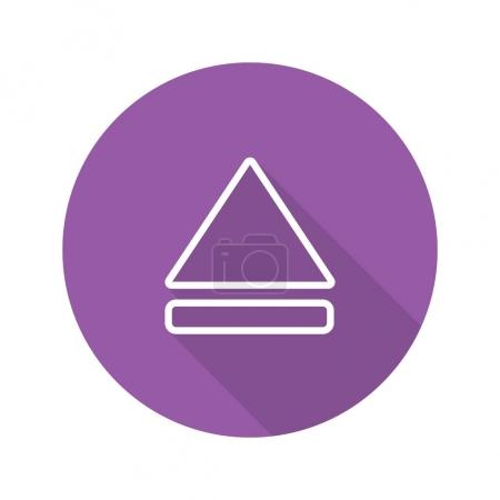 Eject button flat linear long shadow icon. Vector ...