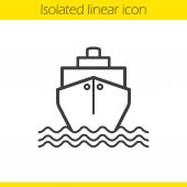 Cruise ship with waves  icon