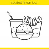 Fastfood linear icon Thin line illustration Cola paper cup cheeseburger and french fries Junk food contour symbol Vector isolated outline drawing