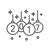 Christmas tree balls with 2017 sign Linear icon Thin line illustration New Year tree decoration contour symbol Vector isolated outline drawing