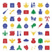 Christmas icons set New Year color silhouette symbols Xmas angel mittens baubles candle sleigh with gifts deer cap firework sweater scarf temperature Vector isolated illustration