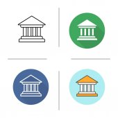 Courthouse icon Flat design linear and color styles Bank building Isolated vector illustrations