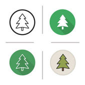 New Year and Christmas tree icon Flat design linear and color styles Forest sign Fir tree Isolated vector illustrations