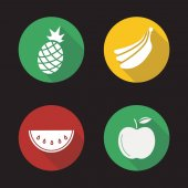 Fruit flat design long shadow icons set Pineapple bananas bundle watermelon slice apple Vector silhouette illustration