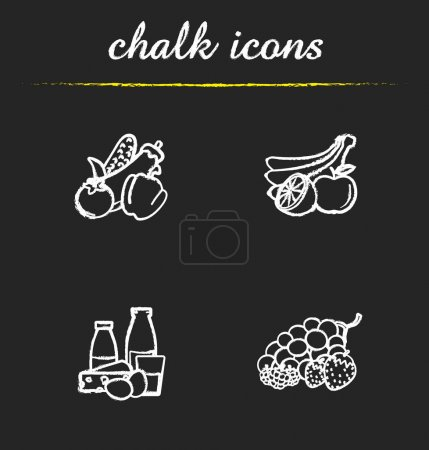 Grocery store products icons set