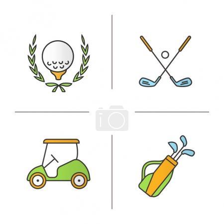 Golf equipment color icons set