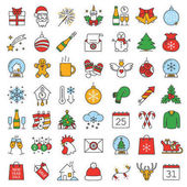 Christmas and New Year color icons set Candy canes champagne bottle and glasses Santa Claus letter rooster snowflake sparkler Isolated vector illustration