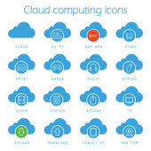 Cloud computing blue icons