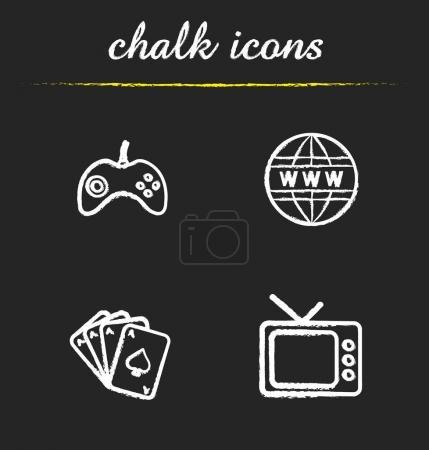 Bad habits chalk icons set