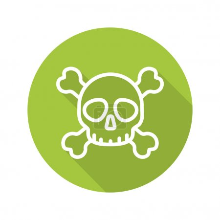 Skull with crossbones. Flat linear long shadow icon