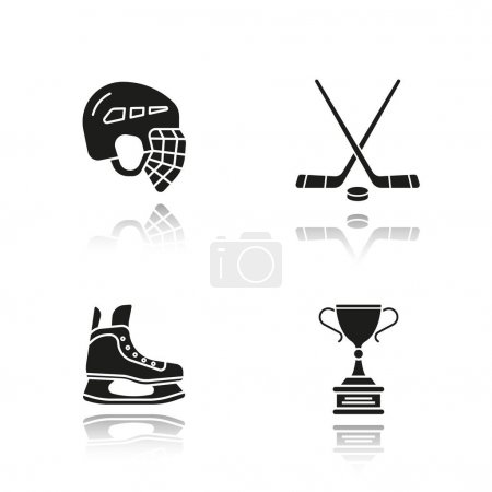 Hockey equipment icons set