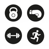 Sport and fitness icons set