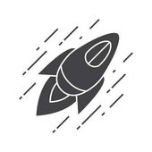 Flying spaceship icon Silhouette symbol Space rocket Negative space Vector isolated illustration