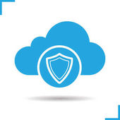 Cloud storage data protection icon Drop shadow security shield silhouette symbol Cloud computing Negative space Vector illustration