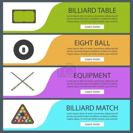 Billiard banner templates set