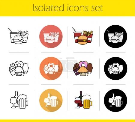 Food categories icons set