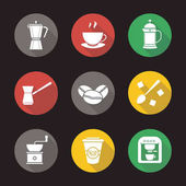 Coffee flat design long shadow icons set