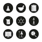 Chemical laboratory icons set Chemical reaction mortar and pestle test checklist beaker with rod molecular structure lab burner flask Vector illustration